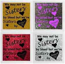 Not Sisters By Blood But Sisters By Heart Decal Frame Wall Vinyl Glass Block