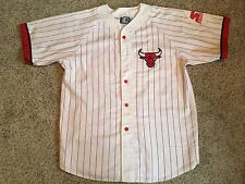 Vtg Starter Chicago Bulls Throwback Baseball Pinstripe Jersey Mens Sz L 90's NBA