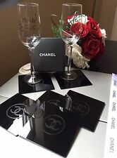 Chanel Engraved Black Acrylic Coasters Collectible 6 Piece Set BNIB Vip Gift