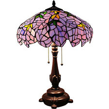 "Stained Glass Blue Gold Wisteria Shade Tiffany Style Table Lamp 24"" High"