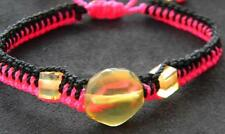 AMBER DOMINICAN REPUBLIC HAND-MADE BRACELET ADJUSTABLE UNIQUE GEM PINK & BLACK