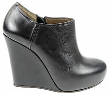 Marni Black Calf Leather Round Zip Up Wedge Platform Booties Boots 41 US 11 $830