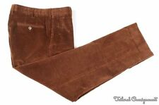 INCOTEX Brown Solid Corduroy Cotton Mens Flat Front Luxury Pants Trousers - 34