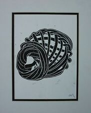 Vintage Signed Modernist Abstract Woodblock Print