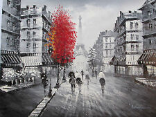 Black White Red Paris Cityscape Large Oil Painting Canvas French Modern Original