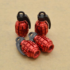 4 x Red Grenade Bomb Exterior Wheel Tyre Tire Valve Stems Air Dust Cover Caps