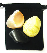 GEMINI ZODIAC / ASTROLOGICAL Tumbled Crystal Healing Set = 3 Stones+ Pouch+ Card
