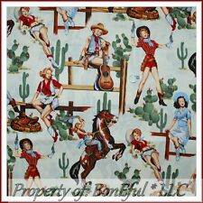 BonEful FABRIC FQ Cotton Quilt White Sexy VTG Pin Up Lg Cowgirl Gun Guitar Horse