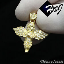 MEN WOMEN 925 STERLING SILVER ICED OUT LITTLE ANGEL WING GOLD CHARM PENDANT*SP95