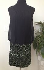 Adrianna Papell Women's Black Blouson Green Sequin Occasions Dress. Size 10