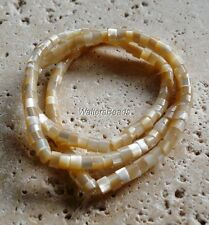 Mother Of Pearls Beige Cream Untreated Shell Rondelle Heishi Bead Strand