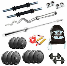Gb Home Gym 52 Kg Plates 4 Rods + Dumbbells Weight Lifting Pack Gloves Rope Free