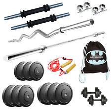 GB Home Gym Set 12Kg Plates + 3Ft Plain +3Ft Curl Rod + Gloves + Dumbbells