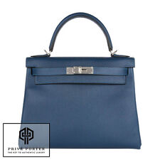 BLEU THALASSA 28CM HERMES KELLY RETOURNE EPSOM LEATHER PALLADIUM SHOULDER BAG