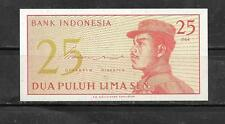 INDONESIA #93a 1964 OLD UNUSED MINT 25 SEN BANKNOTE NOTE BILL PAPER MONEY
