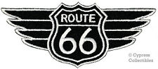 BLACK ROUTE 66 WINGS iron-on MOTORCYCLE BIKER PATCH new ROAD SIGN embroidered