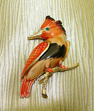 Vintage Signed JJ Jonette Jewelry Enamel Woodpecker Pin Bird Brooch Personality!