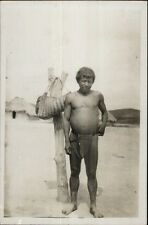 Ethnography Native Man Loin Cloth Bare Feet Panama? Real Photo Postcard dcn