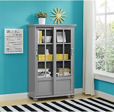 Avenue Green Aaron Lane Soft Grey Bookcase With Sliding Glass Doors