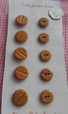 10 Brown Vintage Carved Wood Effect (5 Shank & 5 2 Hole) Buttons 18-22mm Sewing