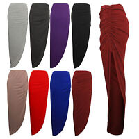 New Ladies Maxi Skirt Long  Ruched Side Split Gypsy Bodycon Dress Stretch Skirts