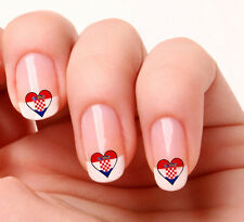 20 Nail Art Decals Transfers Stickers #719 - Croatian Flag Heart Croatia