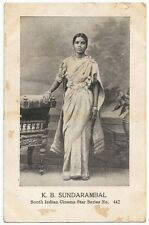 India K B Sundarambal Tamil Actress Heroine Superstar 1930s postcard Ӝ