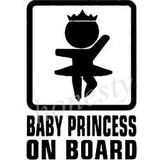 BABY PRINCESS ON BOARD Sticker Vinyl Decal Car Window Wall Bumper Decor Gift