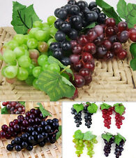Bunch Lifelike Artificial Grapes LO Plastic Fake Fruit Food Home UK Decoration