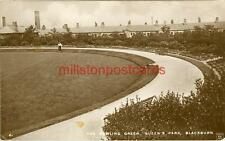 REAL PHOTOGRAPHIC POSTCARD OF THE BOWLING GREEN, BLACKBURN, LANCASHIRE