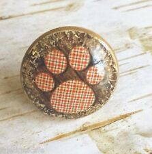 Dog Paw Print Knobs Drawer Pulls, Puppy Paws Cabinet Pull Handles, Red Plaid Paw