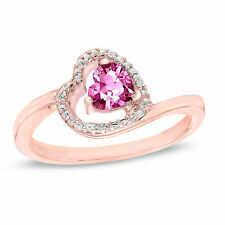 0.52 Ct Pink Sapphire and Natural Diamond 10k Rose Gold Heart Promise Ring