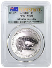 2014 P $1 AUD 1 oz .999 Silver Saltwater Crocodile PCGS MS70 First Strike