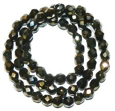 CZ3128f Iris Brown Czech Fire-Polished 6mm Faceted Round Glass Bead 16""