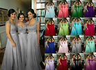 New Long Chiffon Wedding Party Bridesmaid Dresses Straps Evening Prom Ball Gowns