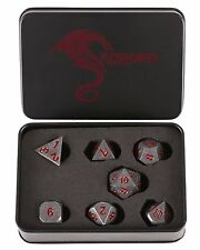 Forged Dice Co. Metal IRON Red Numbers Polyhedral Dice Set in Display Tin