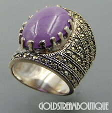 LOVELY STERLING SILVER OVAL PURPLE JADE CABOCHON MARCASITE STATEMENT WIDE RING