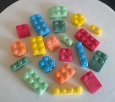 Handmade 100% edible LEGO  cake/cupcake toppers - assorted (24)