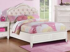 PRETTY WHITE & PINK PRINCESS LEATHERETTE TWIN YOUTH BED BEDROOM FURNITURE