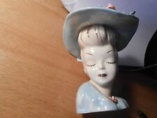 VINTAGE  LADY HEAD VASE PLANTER 1950'S Big Hat w ROSE