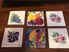 "6 Ceramic Clay Art Tiles  4x4"" Fish Flowers Fruit Iris"