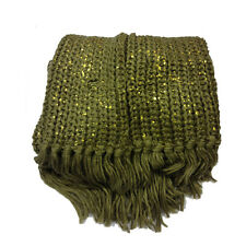 Sciarpa scaldacollo donna in morbida e calda lana marrone e oro con frange