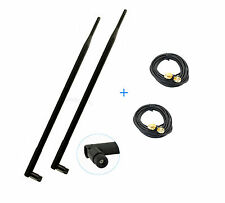 2 9dBi dual band WiFi Antennas RP-SMA + 2 Extension Cable For TP-Link TL-WDR4300