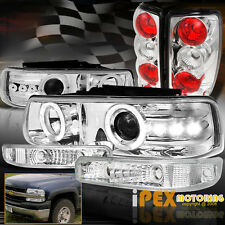 2000-2006 Chevy Suburban Tahoe Halo Projector LED Headlights + Tail Light Chrome