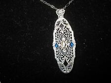 Art Deco Sterling Ostby/Barton Filigree Brooch/Pendant/Necklace, 17""