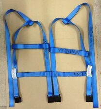 DEMCO Tiedown Straps Adjustable Tow Dolly Wheel Net Set Flat Hooks BLUE USA
