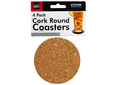 """4-Pack 3.5"""" Round Cork Coasters for Beverages & Drinks"""