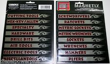 tool box magnets snap on matco craftsman labels screwdrivers ratchets drawer MAC