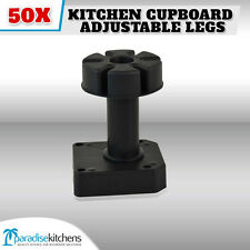 50 X PLASTIC KITCHEN CUPBOARD ADJUSTABLE LEGS, VANITY