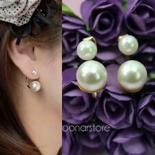 Fashion Women Korean Style Double Pearls Cycle wrap Golden Ear Studs Earrings
